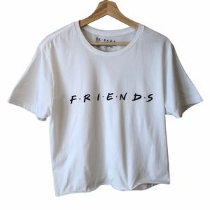 Friends Cropped T-Shirt White Logo Large